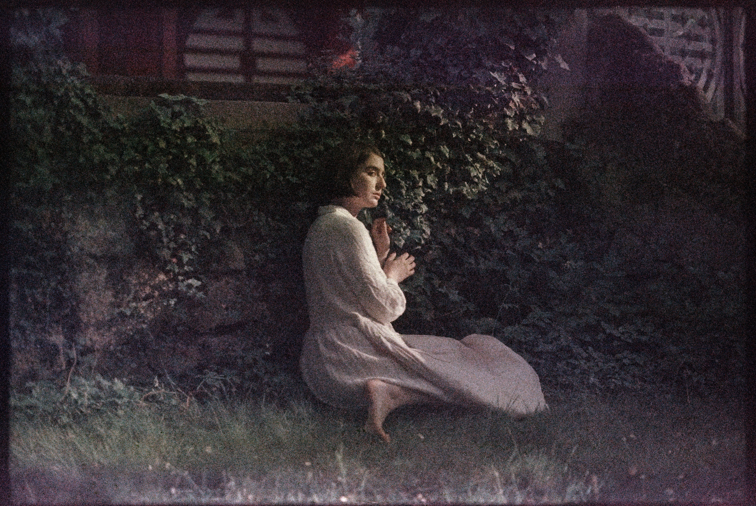 self portrait as Joan of Arc in her garden (2018)  shot on expired Kodak 35mm film