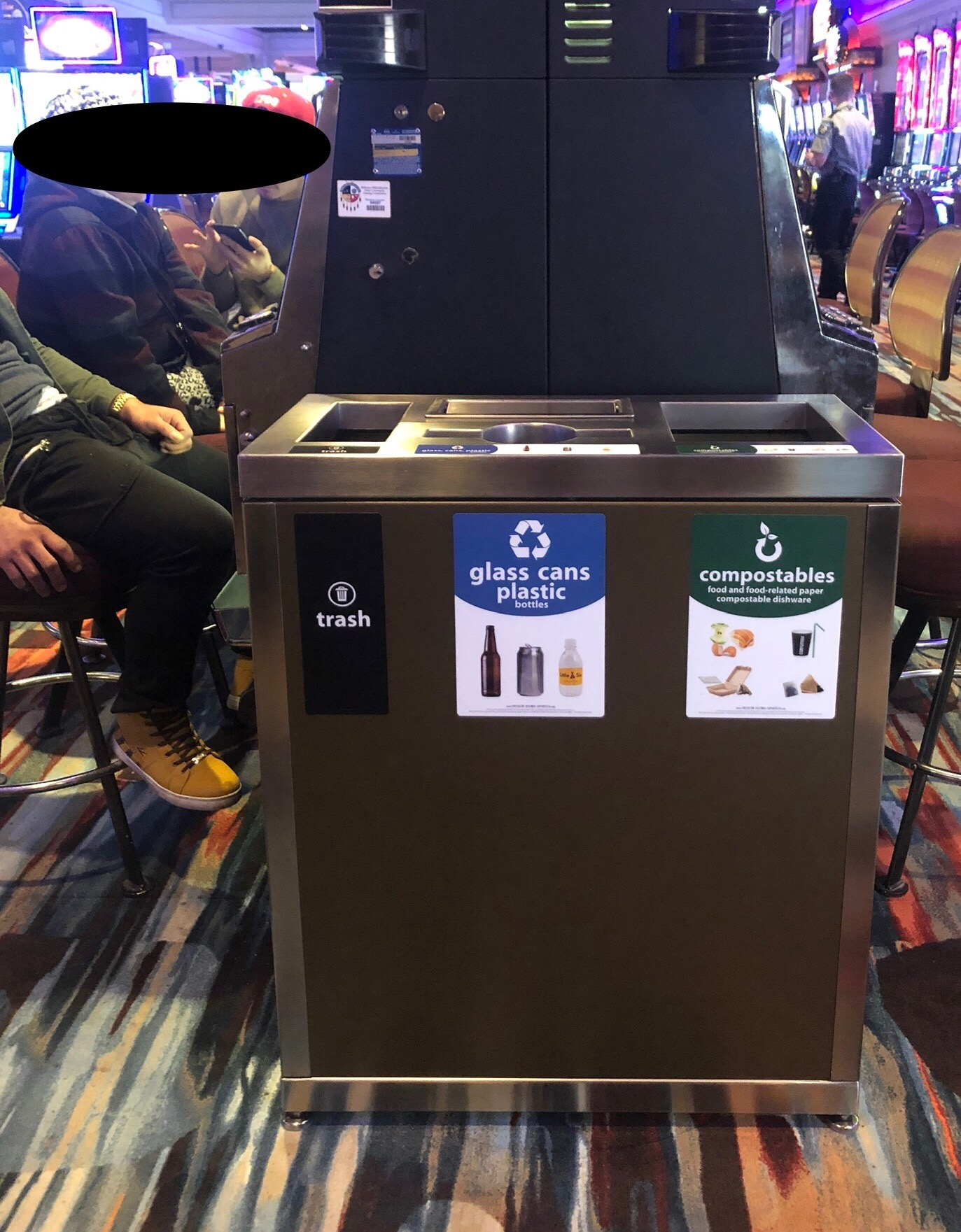 New waste collection bins at Little Six Casino, featuring Recycle Across America standardized signs.