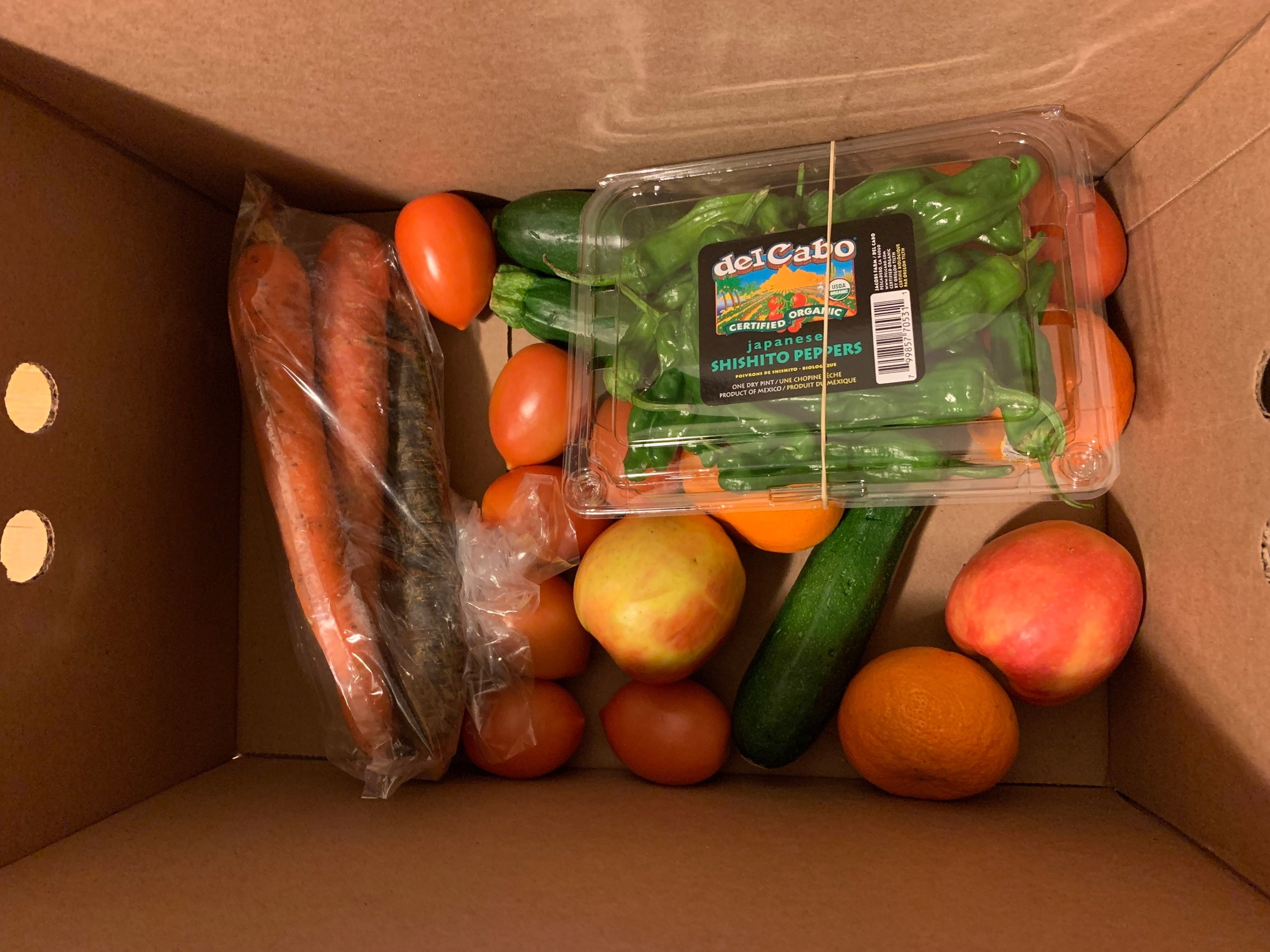 Our box included: 5 large rainbow carrots, a package of shishito peppers, 3 apples, 4 mandarins, 7 roma tomatoes, and 3 zucchini.