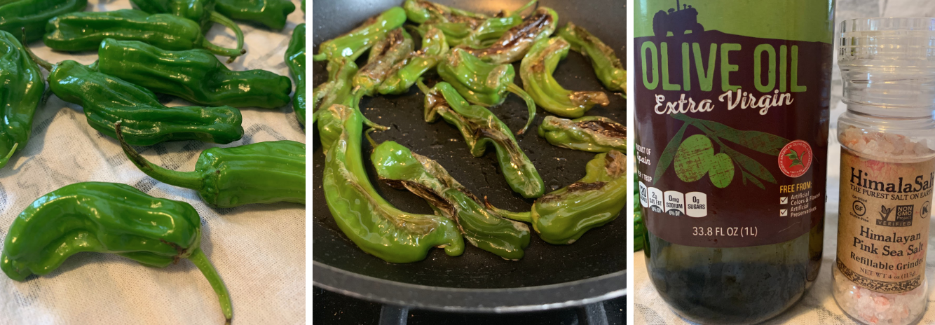 Blistered shishito peppers in olive oil and sea salt