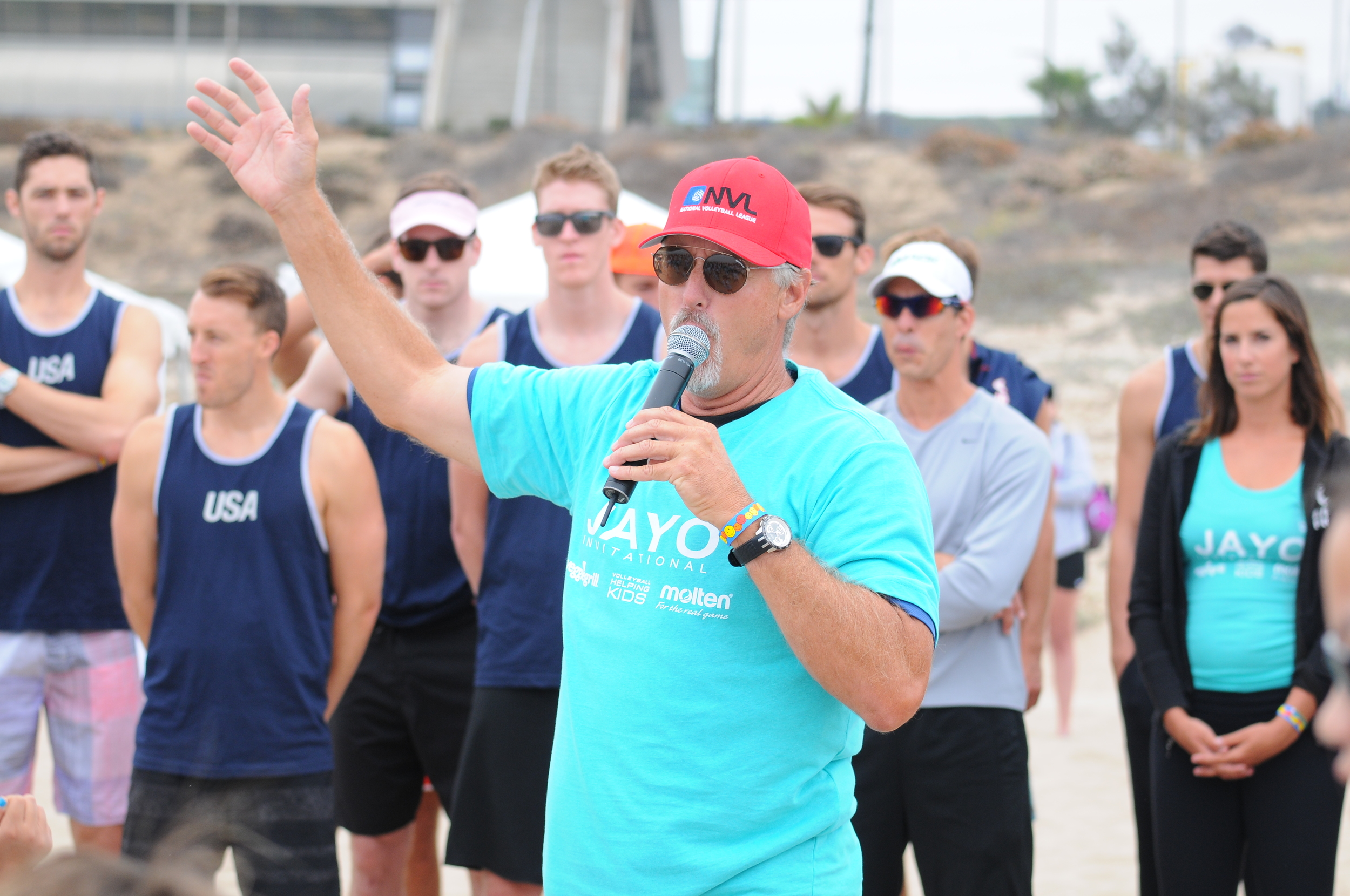 Hall of Fame Beach Volleyball Player Sinjin Smith and his Kids Clinic teachers TEAM USA at the 2013 Kids Clinic.