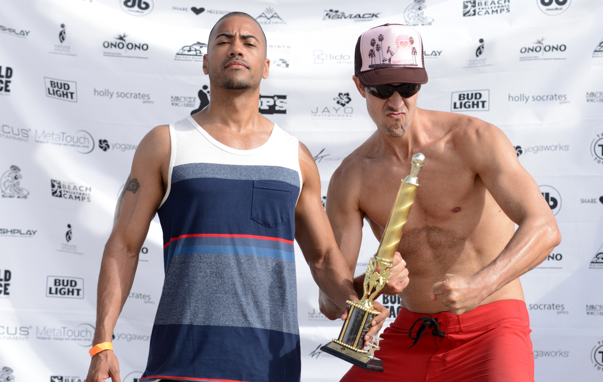 Actor Brad James and Team USA member Curt Toppel. - Warning: Sometimes it's difficult to tell our celebs why they really won...