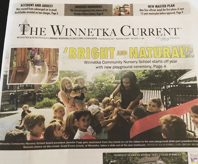 Thank you, Winnetka Current for putting our playground opening on the front page! 🗞 A great way to kick-off our first week of school.