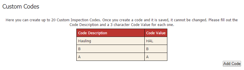 This is the list of your custom codes.