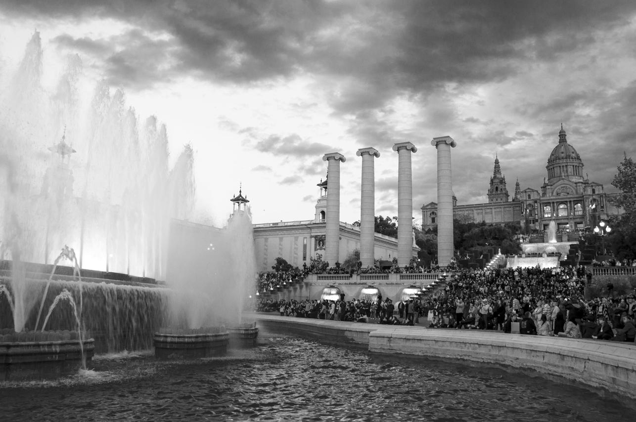 Fountain show at the Museu Nacional d'Art de Catalunya, Barcelona, Spain. 2012