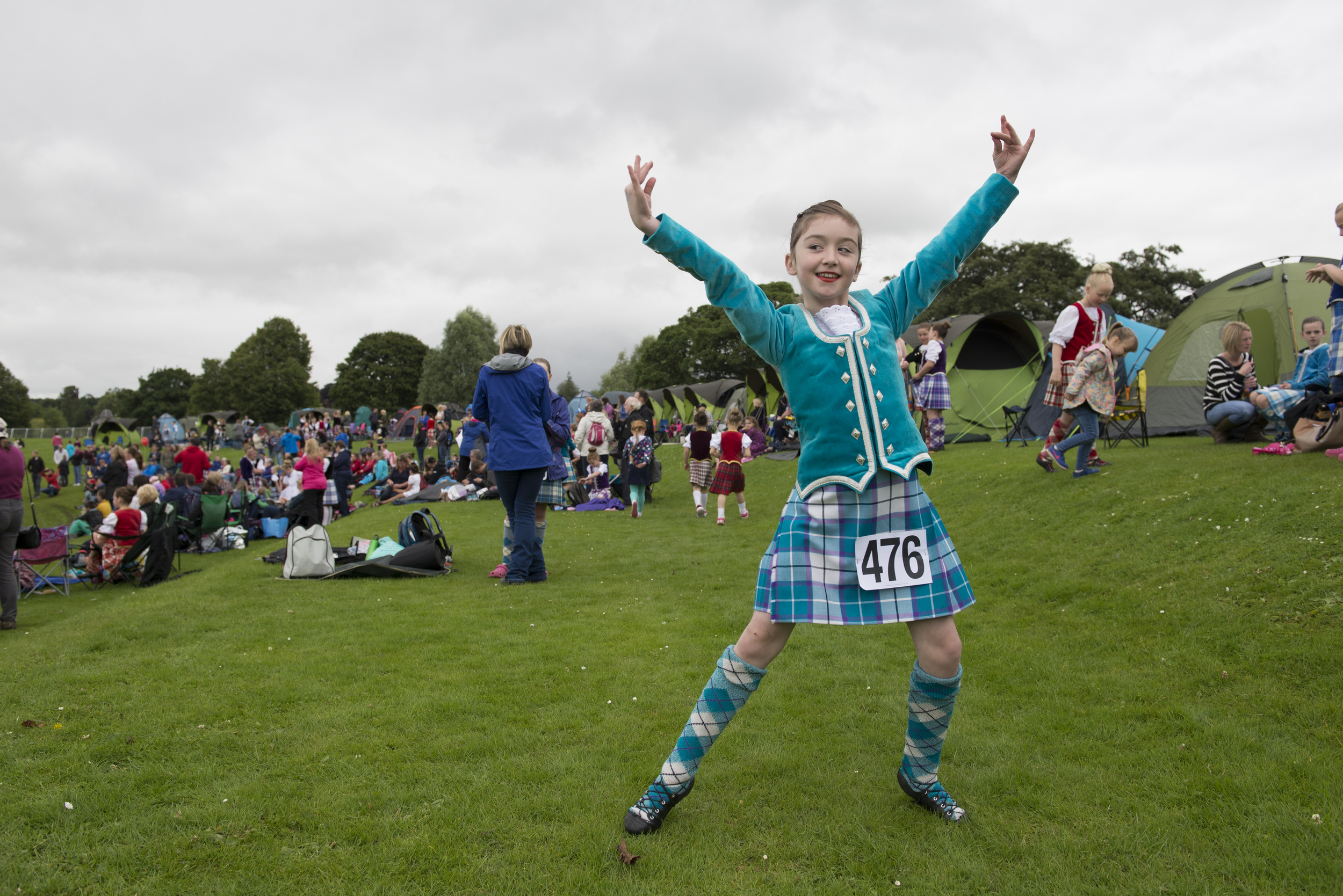 Erynn Kirk, 10, practices the Highland Lilt outside her tent before the Intermediate Highland Dance Competition at the Perth Highland Games in Perth, Scotland. Erynn practices Highland Dancing three times a week, working her way to becoming a Premier dancer.
