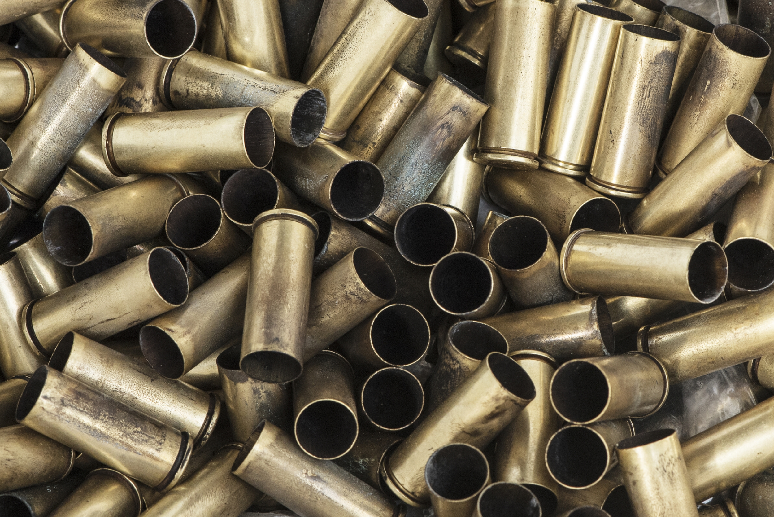 The blank ammunition used in cowboy mounted shooting is called .45 caliber Long Colt. The brass cartridge is loaded with black powder, similar to the 1800s.