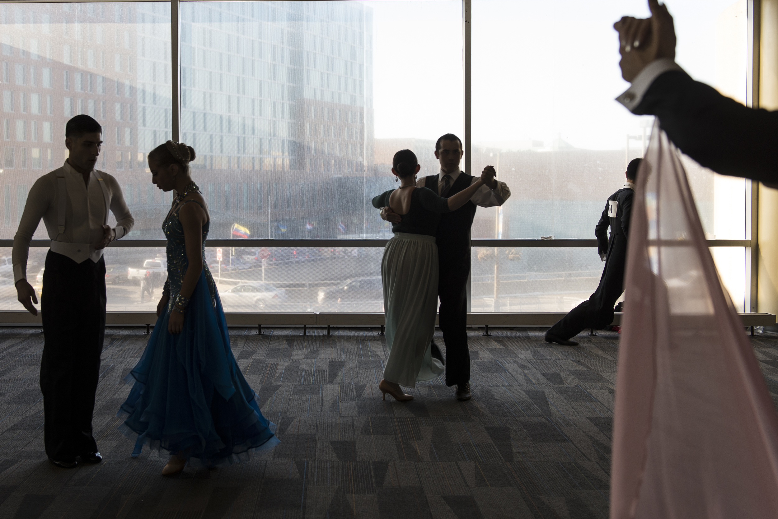 Competitors warm-up before their heats for the Youth DanceSport Challenge at the Arnold Sports Festival in Columbus, Ohio on Saturday, March 7, 2015.