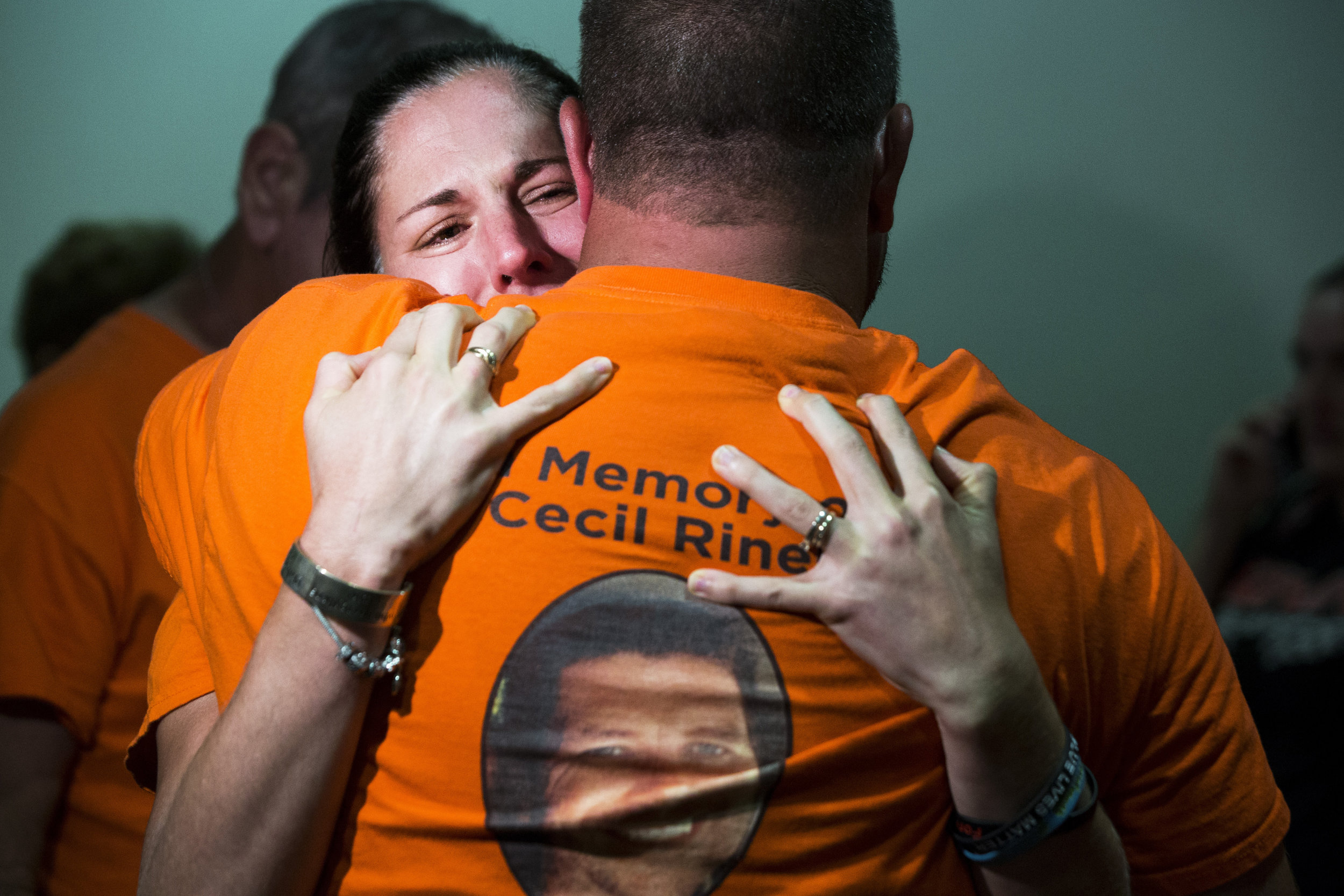 "Jessica Riner cries as she hugs a friend after hearing the verdict for Rene Miles, who was found guilty of a felony DUI manslaughter charge for the death of her husband James ""Cecil"" Riner, at the Collier County Courthouse on Tuesday, June 20, 2017."
