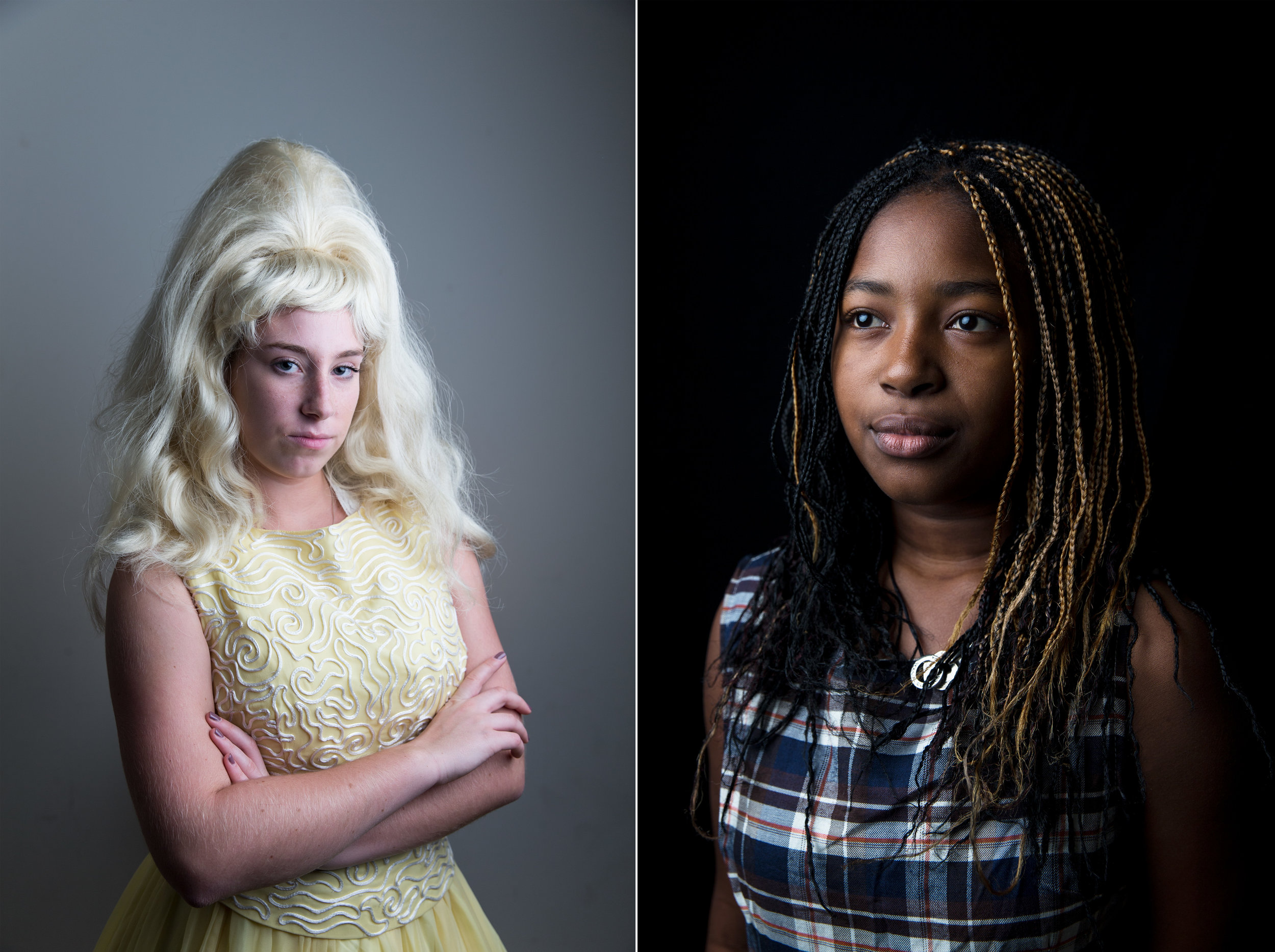 "Alexandra Igoe, 16, left, and Shirley Vilsaint, 16, dressed in character as Velma Von Tussle and Little Inez Stubbs respectively, pose for portraits during their Hairspray rehearsal on Sunday, Nov. 13, 2016. Hairspray deals with several themes, most notably race and the fact that all people should be treated equally despite differences in ethnicities, color or appearance. When asked what they've learned working alongside one another, Alexandra said, ""I've never done a show like this before, but I've never seen kids with so much dedication, talent and integrity. They just put everything into everything they do.""   ""I've learned that stereotypes are just stereotypes,"" states Shirley. ""I came in basically like, 'Oh my gosh, these white people aren't going to know how to dance.' But then a lot of them dance better than I do. So something's wrong with these stereotypes cause whoever made it up, doesn't have it right."""