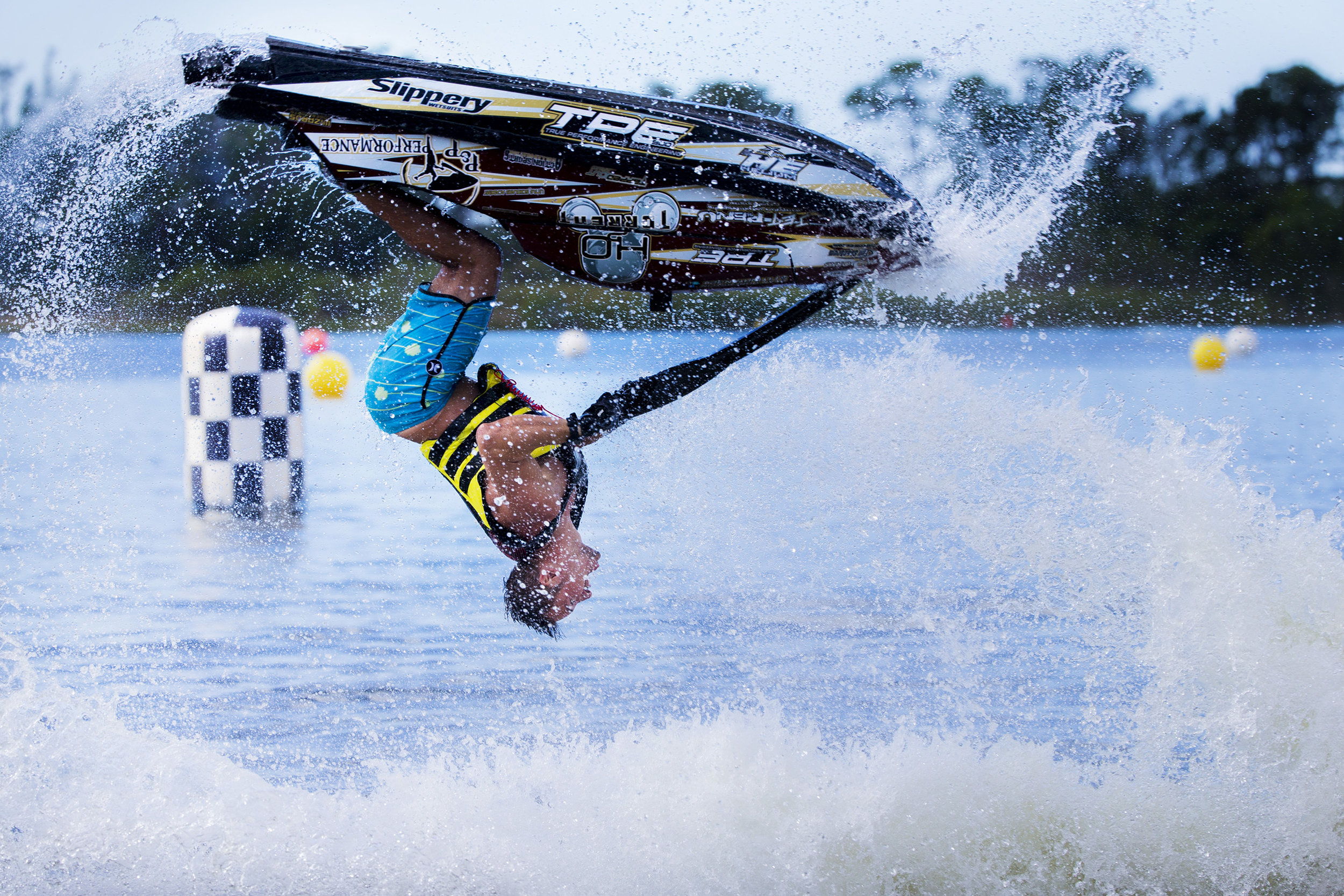 Chris Anyzeski performs a backflip during the Pro Freestyle heat of the Pro Watercross World Championships at Sugden Regional Park in Naples on Sunday, Nov. 5, 2017.
