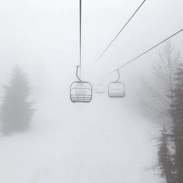 To say the clouds were thick on the mountain today would be an understatement. #whistler #spookylift