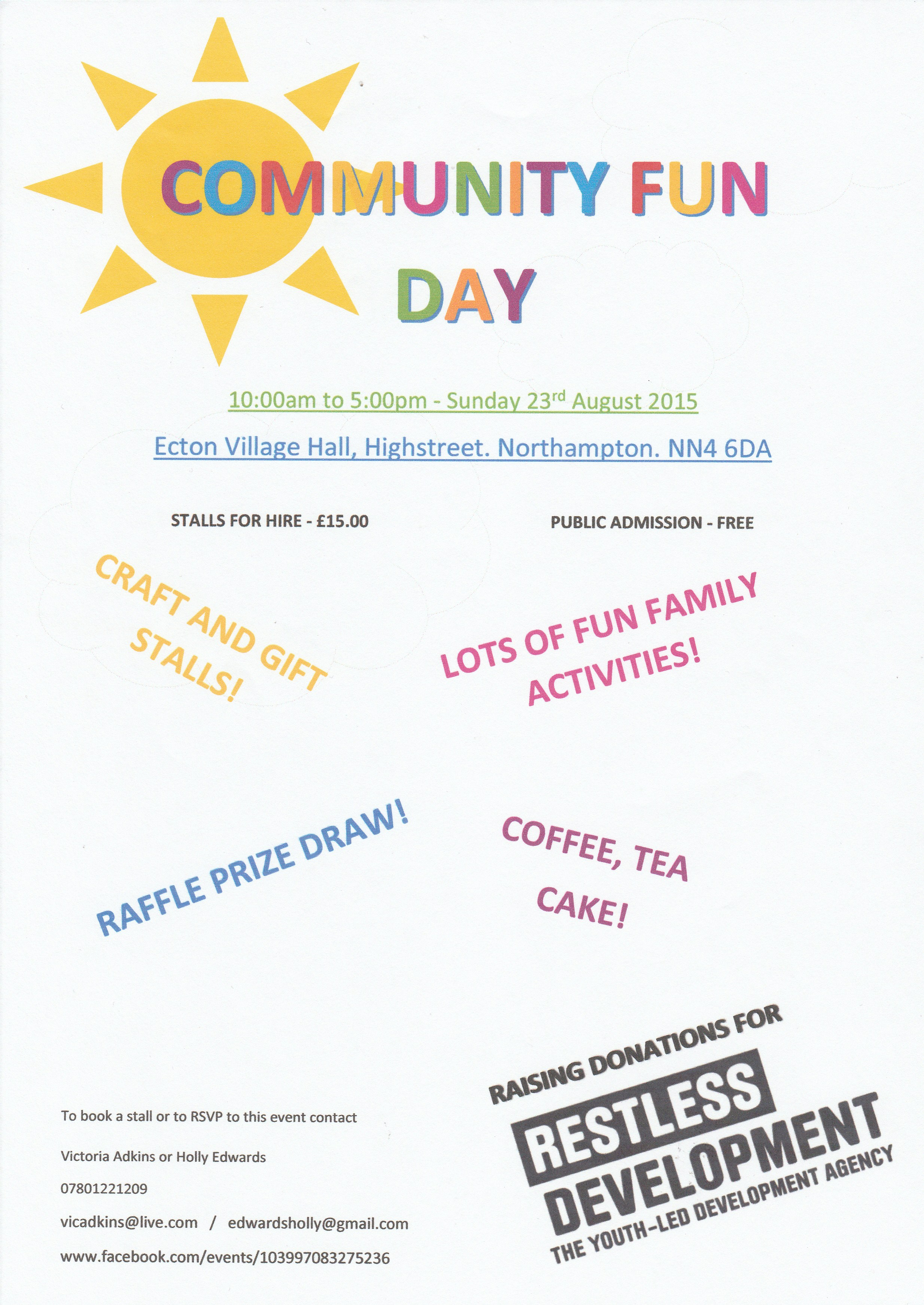 Community Fun Day at Ecton  Vilage Hall!  10am-5pm, Sunday 23rd August 2015  Free Admission, Stalls for hire £15