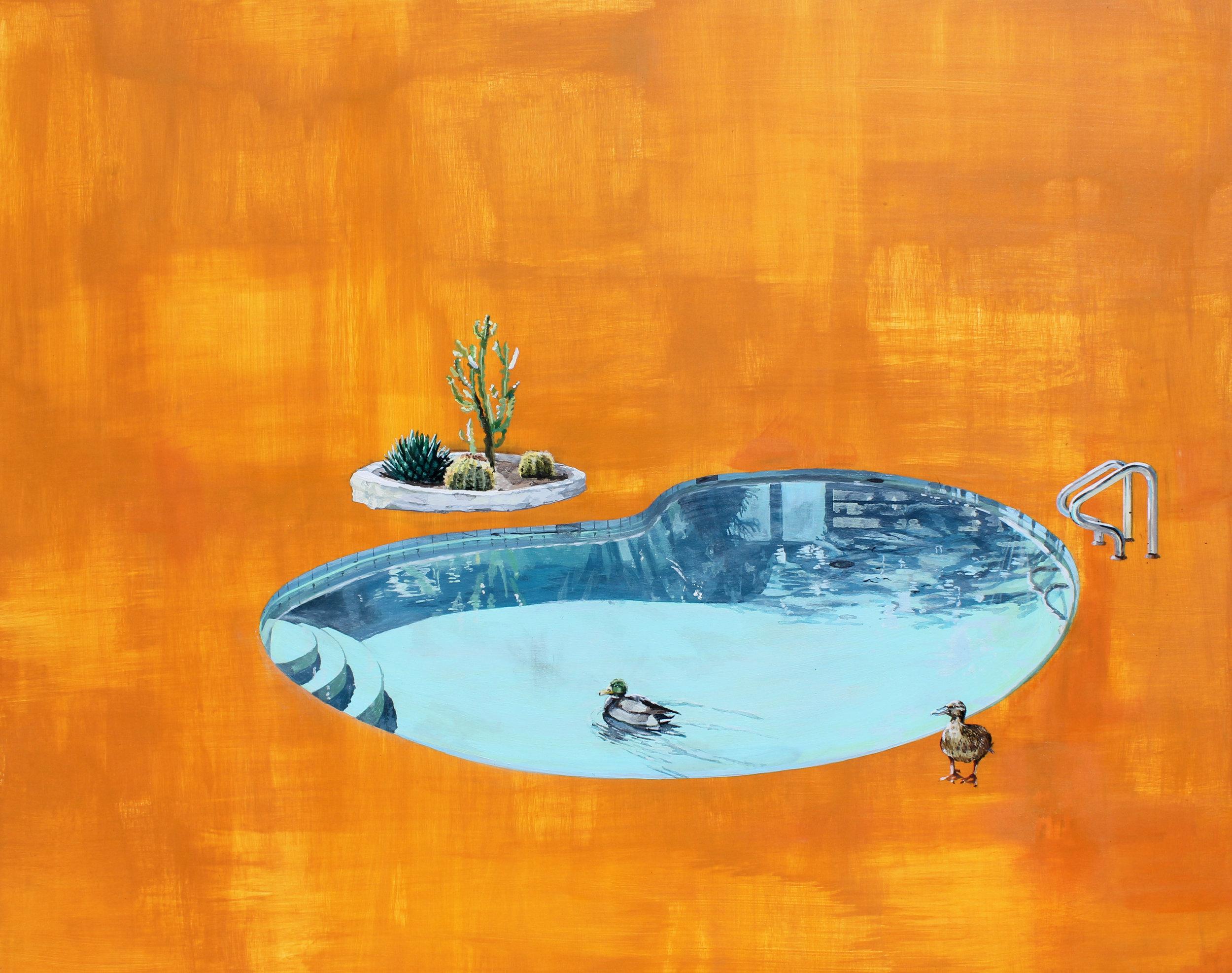"""Ducks   24""""x18""""  Acrylic on panel  $1,000"""