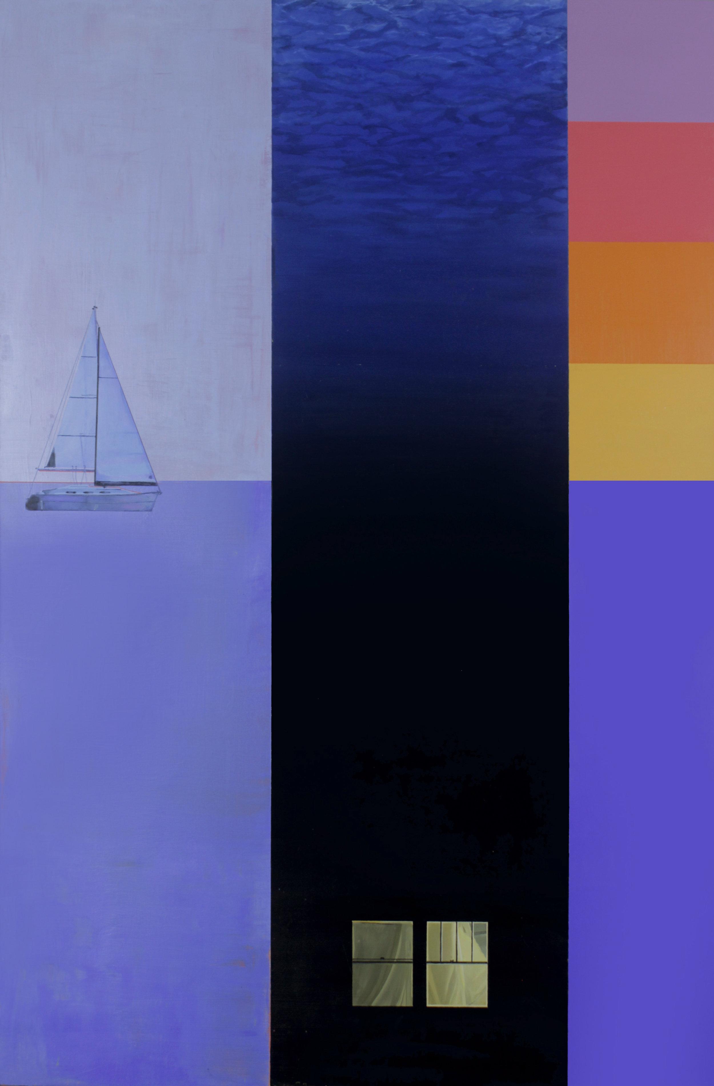 """Sail   24""""36""""  Acrylic on panel framed"""