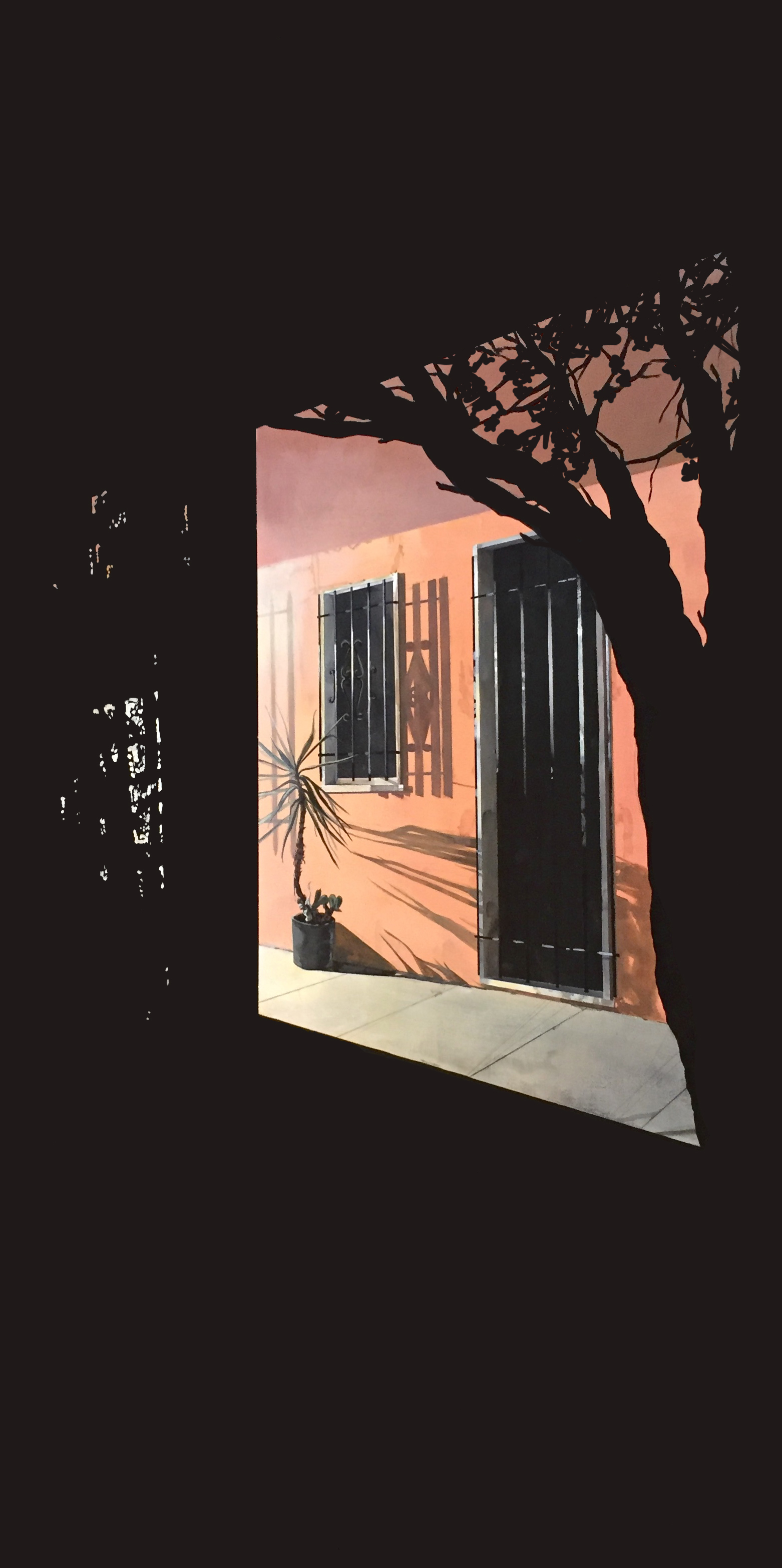 """Front Porch   24""""x48""""  Acrylic on panel framed"""