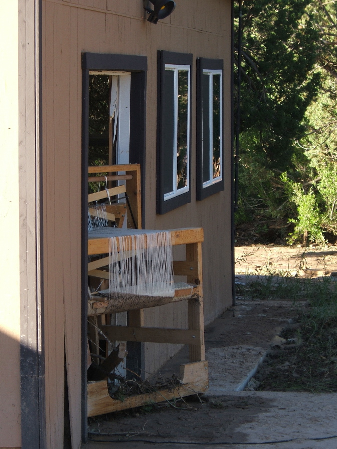 Looms jammed in the French door opening photo credit: Elizabeth J. Buckley