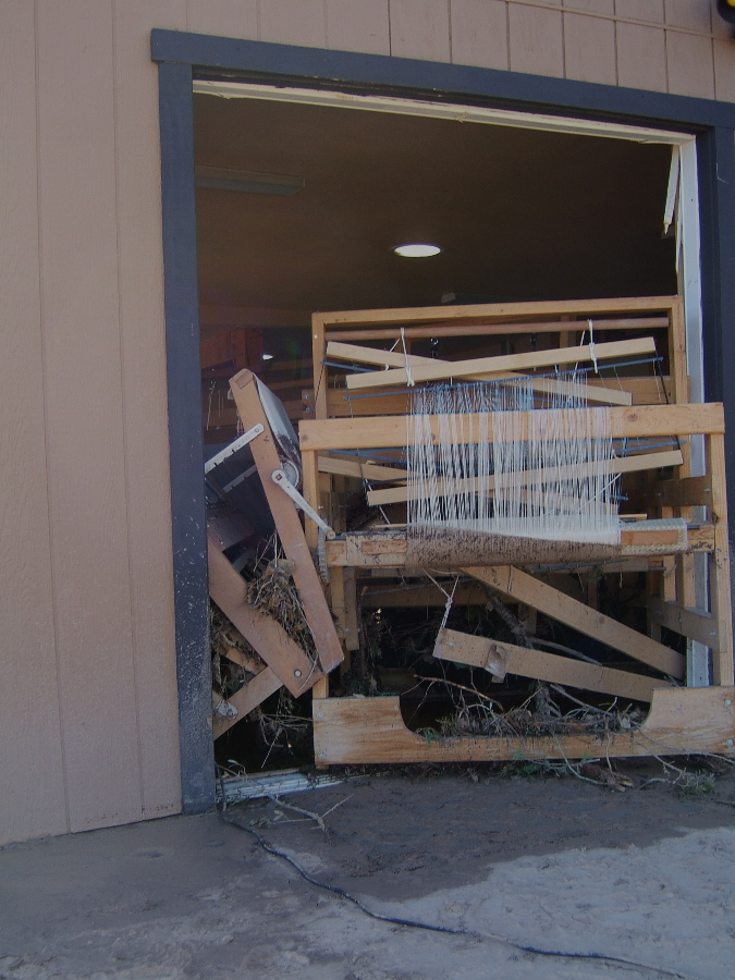 Looms jammed in French door opening...another view photo credit: Elizabeth J. Buckley