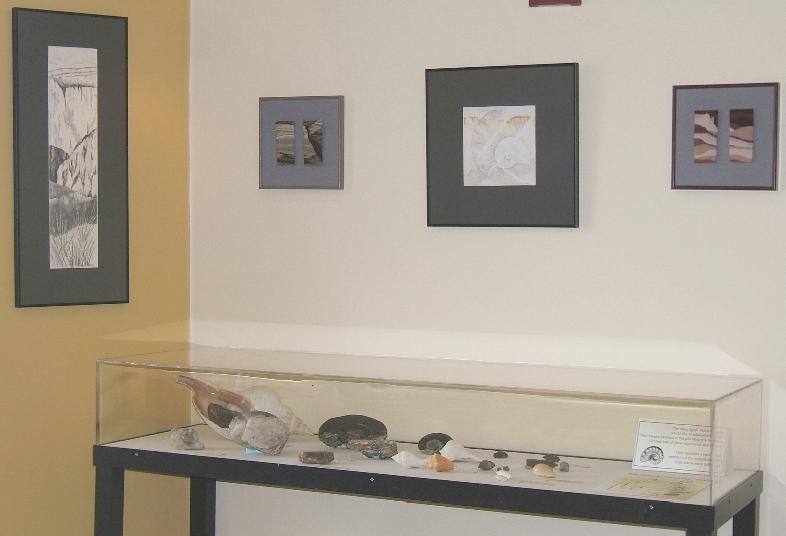 Mesa Slice  drawing,  Prairie Strata  diptych,  Gastropod and Mesa  drawing,  Mesa Strata  diptych