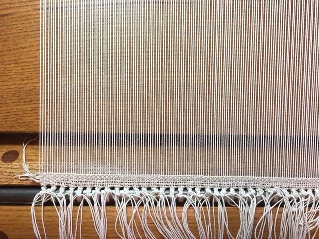 Twined heading, now ready to weave! 12/12 cotton seine twine sette at 10 epi. photo credit: Elizabeth J. Buckley © 2019