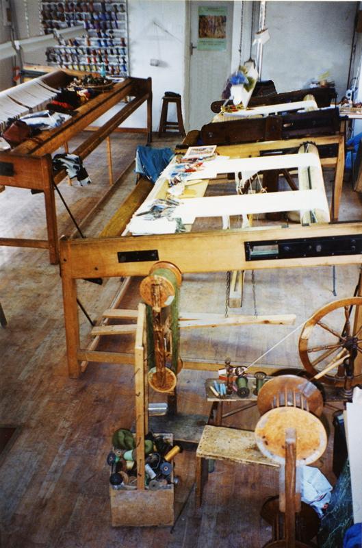 Three  basse-lice  looms in Gisèle Brivet's atelier. photo credit: Elizabeth J. Buckey © 1994
