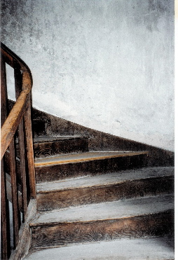 Wooden stairs leading up to Gisèle Brivet's atelier. photo credit: Elizabeth J. Buckey © 1994