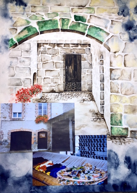 Dreaming of Aubusson ,   watercolor and montage, ©2003 Elizabeth J. Buckley
