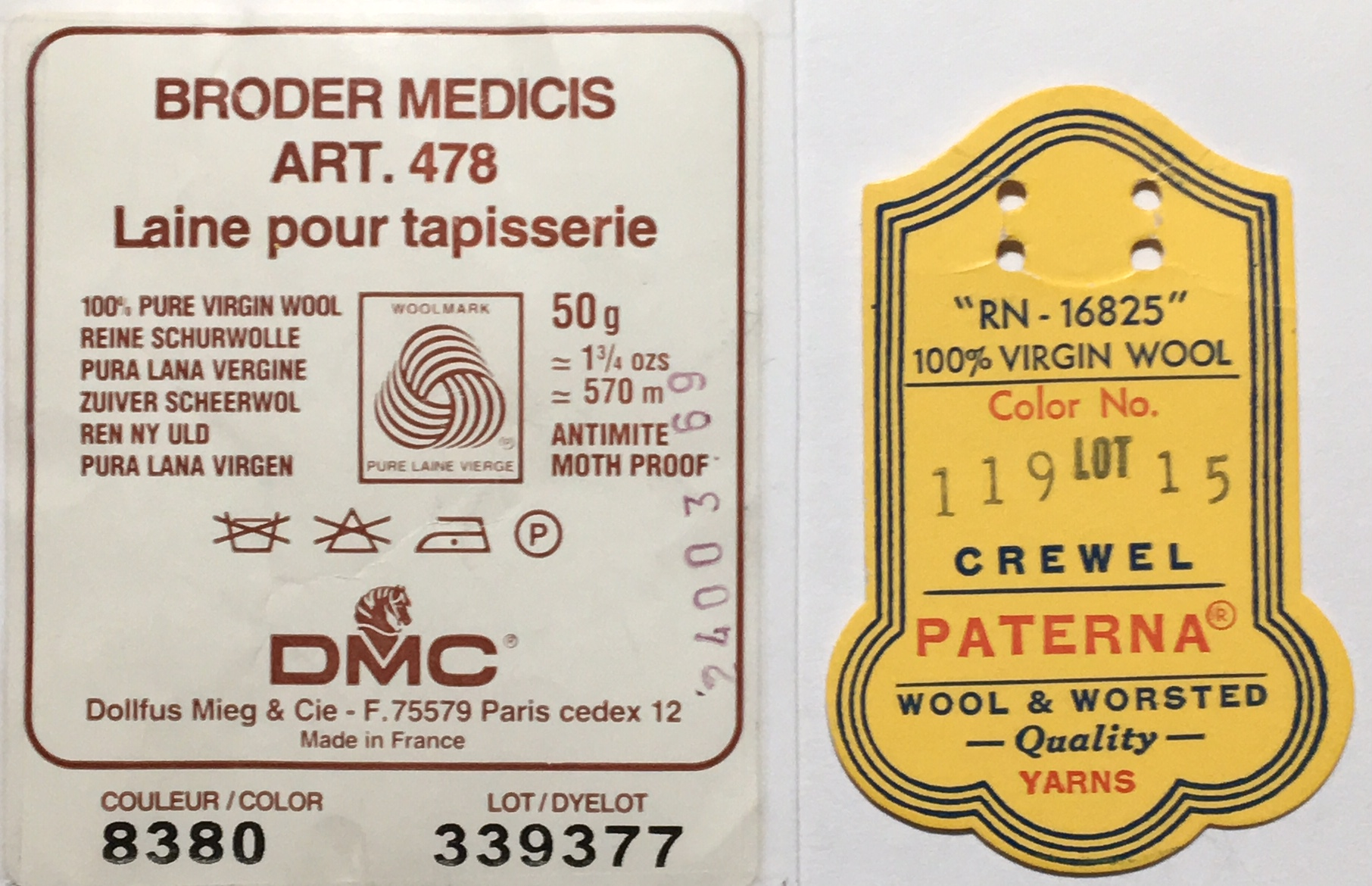 Labels for  DMC Medicis  wool and  Paterna Crewel  wool, no longer being produced.
