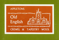 Label for Appleton wool, Crewel is the thinner weight best for tapestry