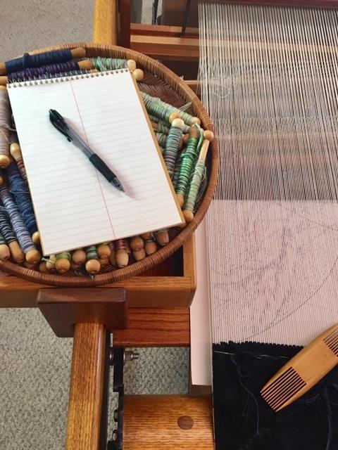 Notepad at loom ©2019 Elizabeth J. Buckley
