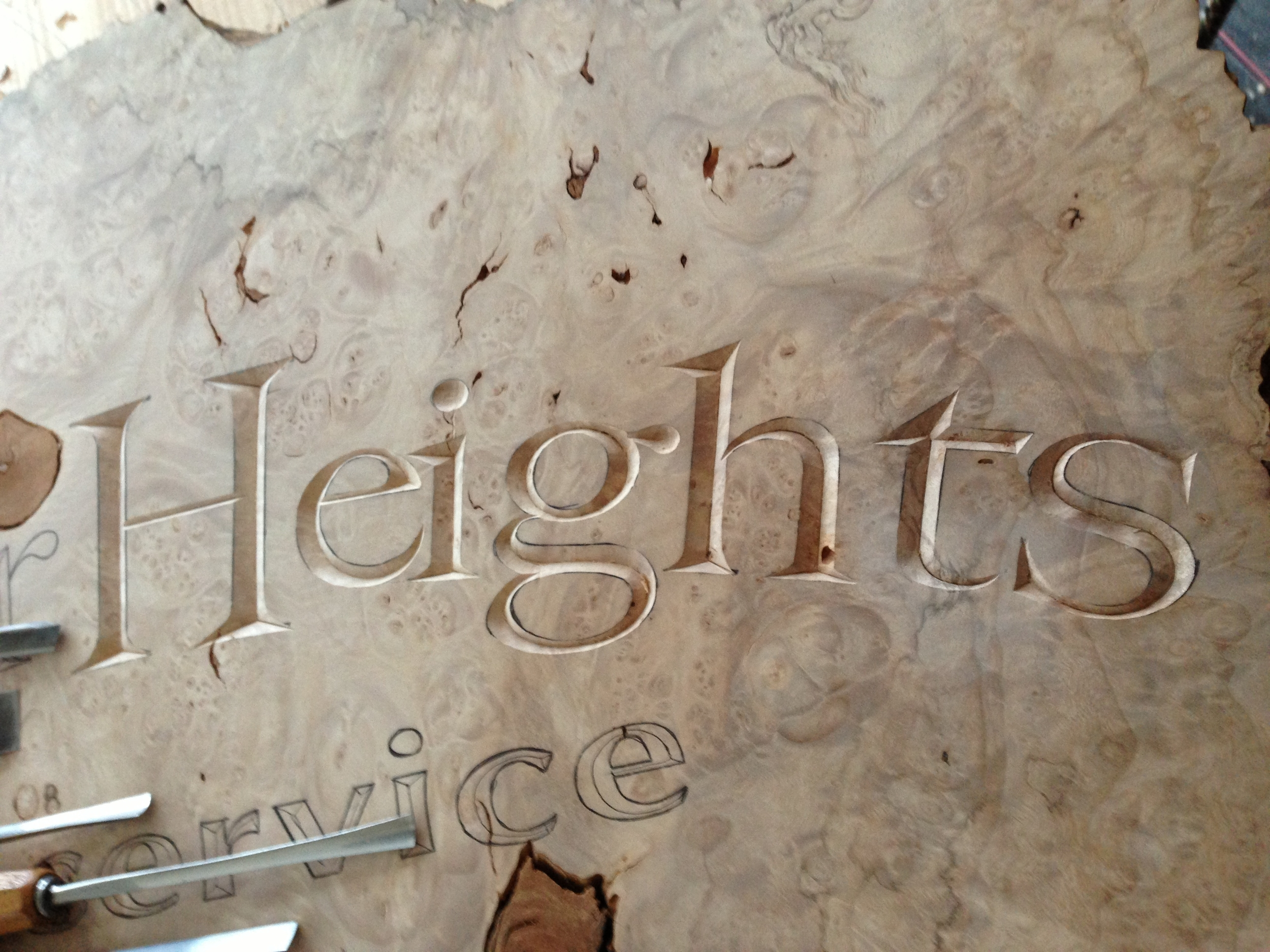 Letter carving