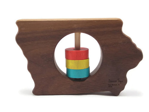 Wood teether/rattle  : We received a wooden Iowa teether as a gift before Rooney was born and it was so sweet and thoughful! I love that wood toys are safe and organic for babies. The kind folks from  Bannor Toys  (who we met at our local farmers' market, as all their toys are made here in Des Moines, Iowa) sent Rooney a personalized  wooden car  and  phone  that she loves!