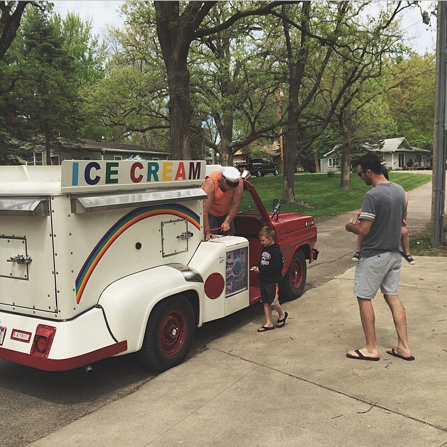Don't freak out but THERE IS AN ICE CREAM TRUCK that comes up the hill and plays music and (obviously) sells yummy treats. I was napping but awoke to the music and immediately ran outside. Ice cream trucks are illegal in Des Moines so this was a major treat for us.
