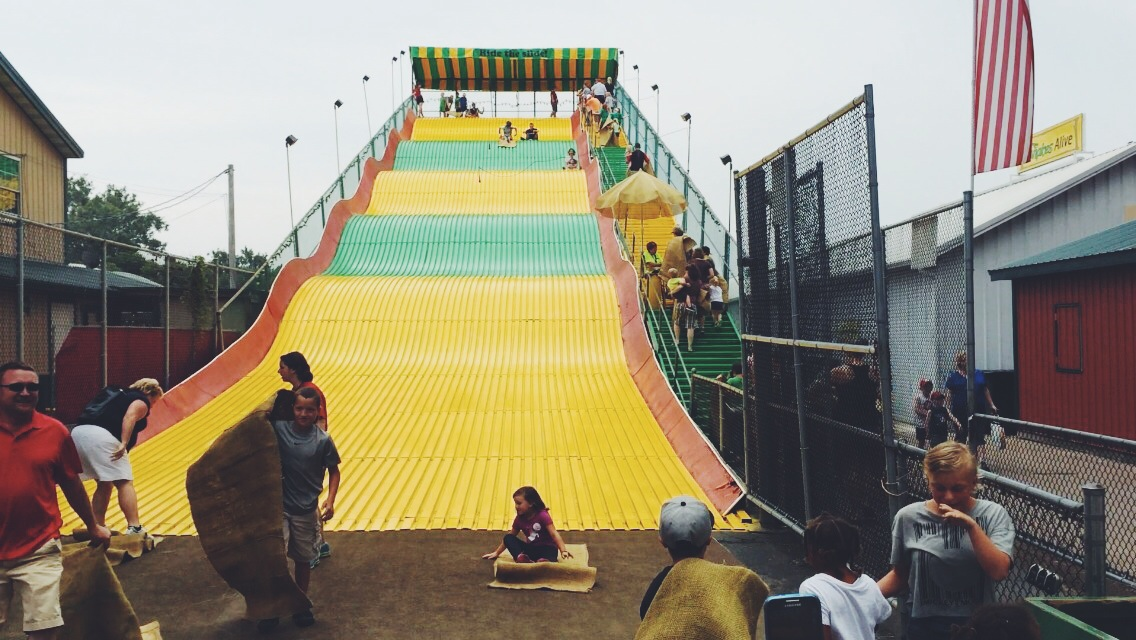 In case you missed my  summer bucket list recap , Roo and I went down the giant slide together!