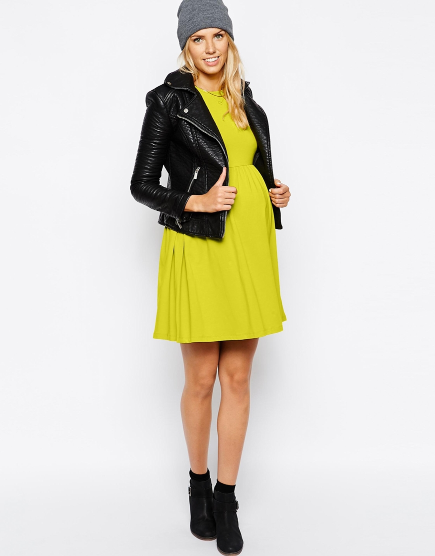 ASOS skater dress : I have this in lime ( worn here ), and it's definitely my most-worn item this pregnancy. Ikind of want to order the gray one, too! Old Navy has a similar version here .