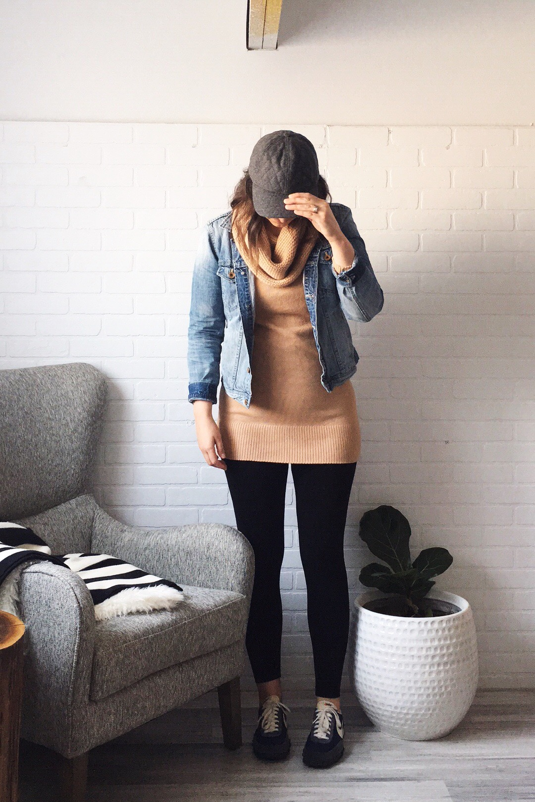 hat: Madewell / jacket: Madewell ( similar ) / sweater: H&M / leggings:  M.Rena  via  Mainstream Boutique  / shoes:  J.Crew