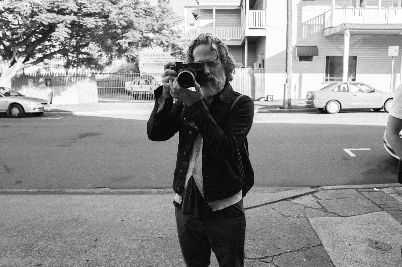 Simon taking my portrait on the Mamiya