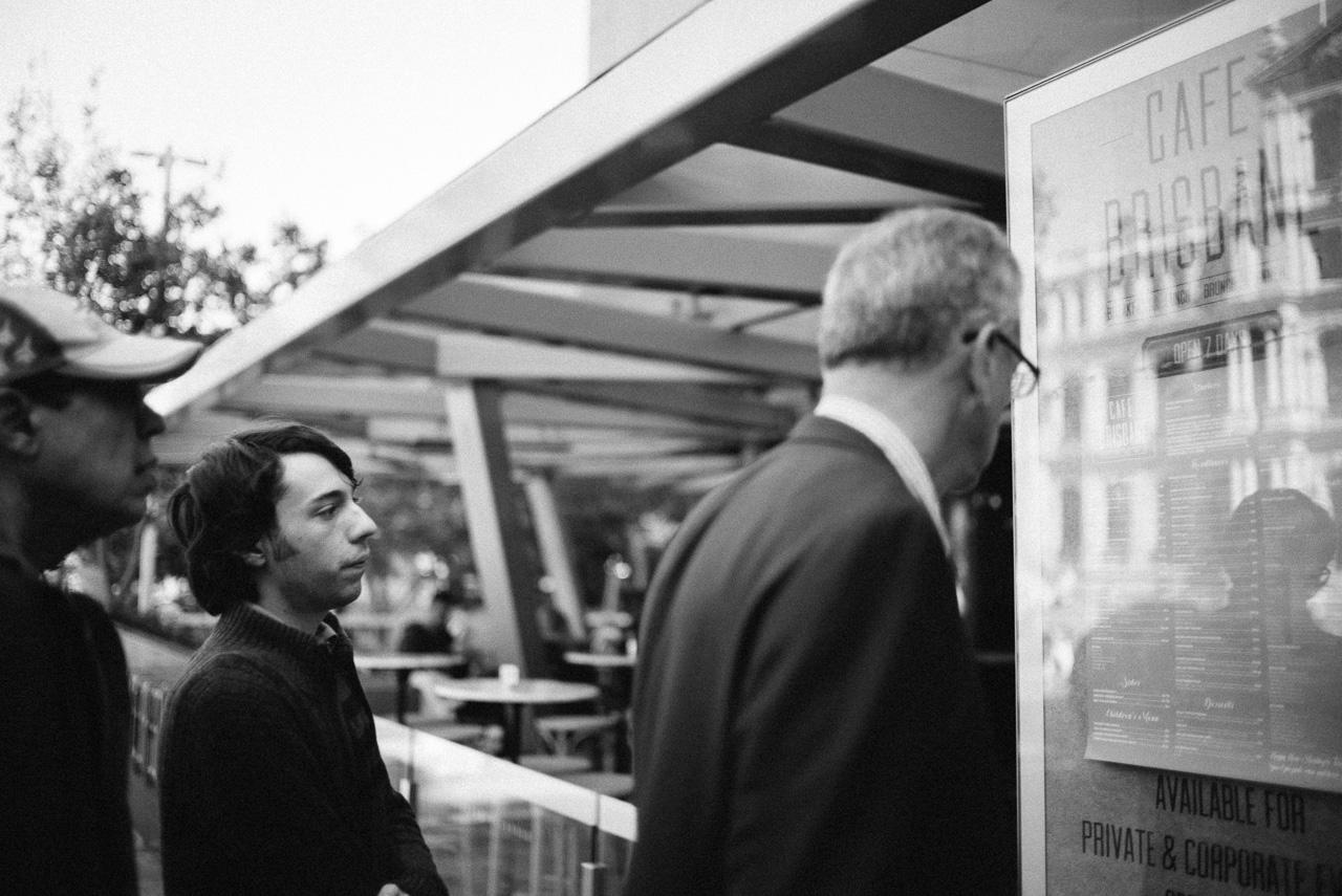 People looking at menus