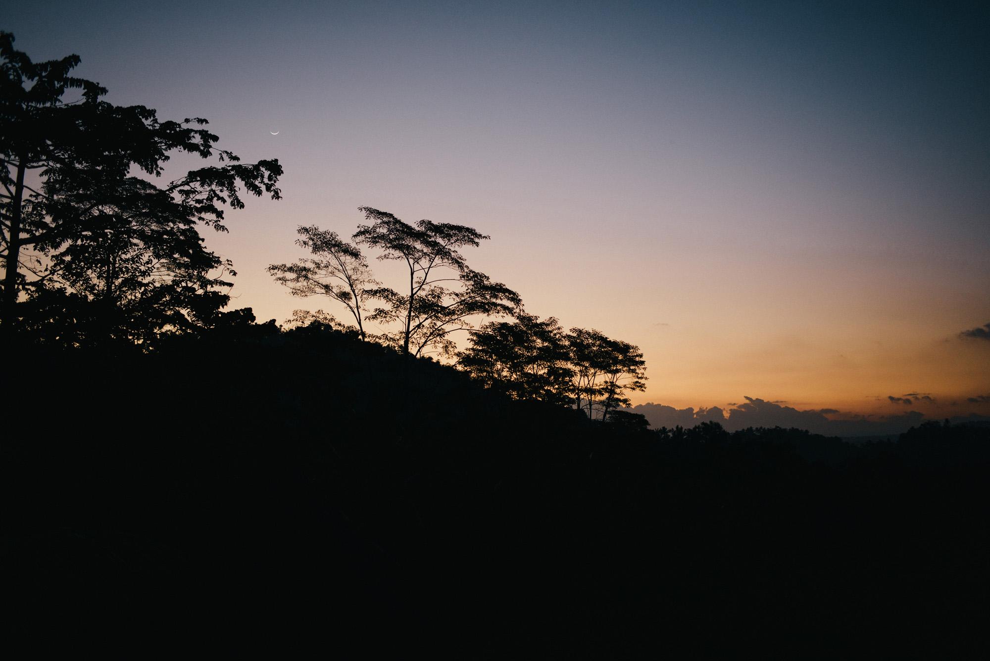 Crescent Moon over Sidemen, Bali