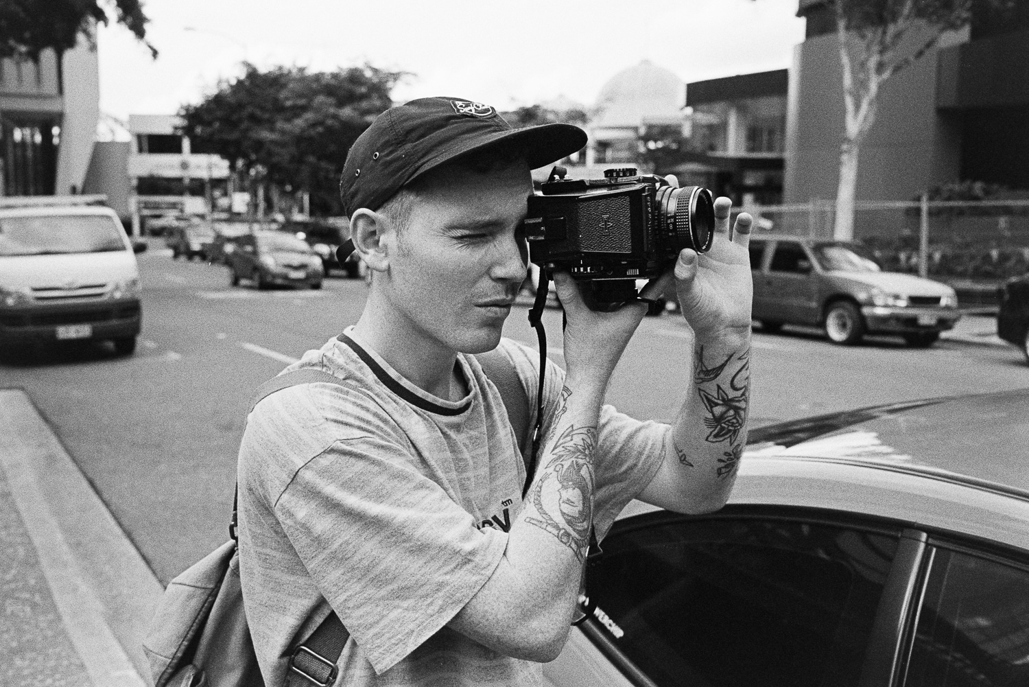 Lachlan Dale who shoots for Racquet Studio shooting on his Mamiya M645 with Fuji Acros 100.