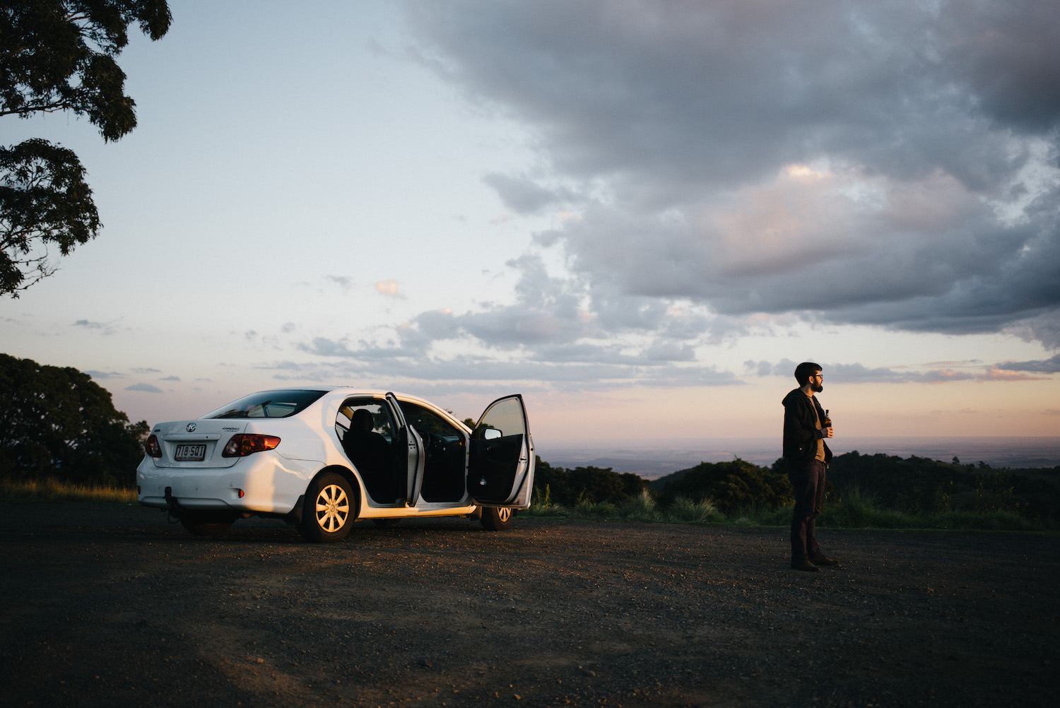 Watching the sun set before reaching our Bunya Mountains campsite.