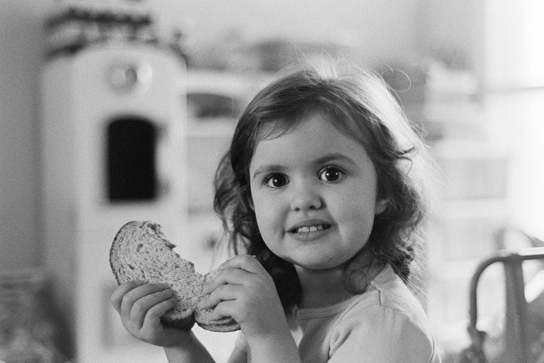 Hannah eating a sandwich...