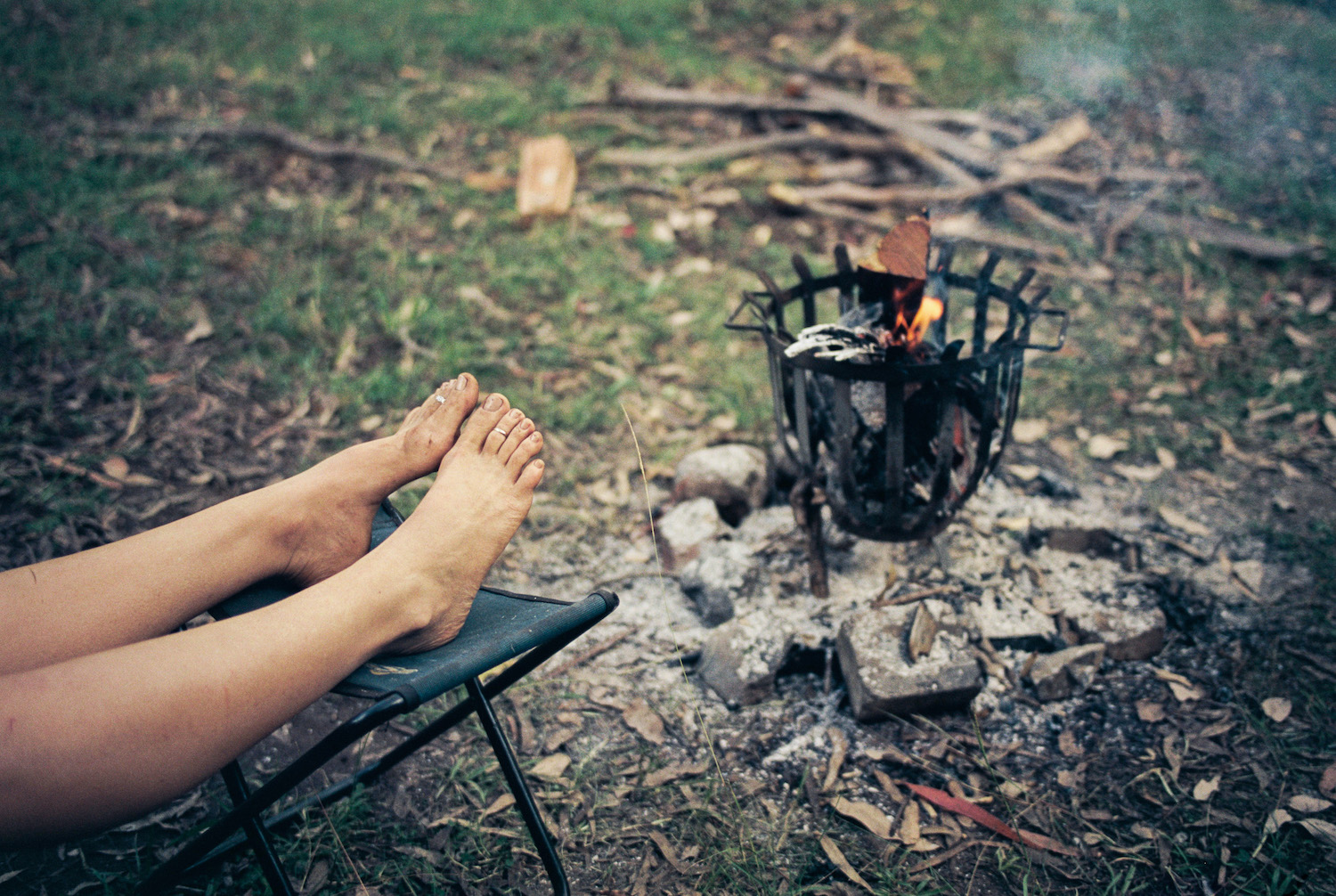 Things to do while camping. Stare at fire, read, eat, swim.