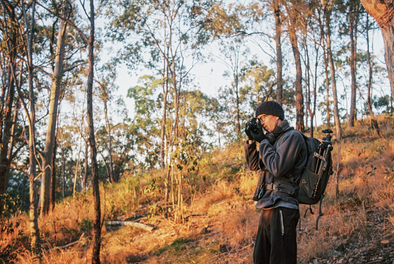 Me shooting 35mm Kodak Ektar 100 film at Mount Greville. Photo by Nat Dash.