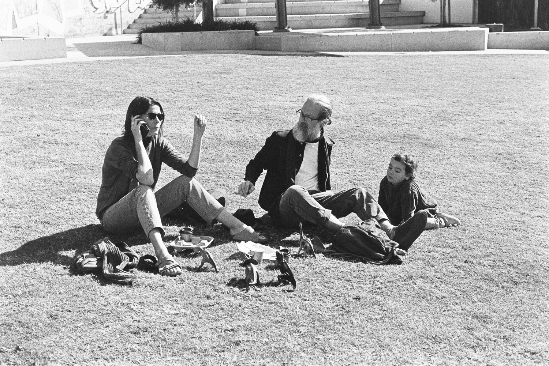 Friends on grass.