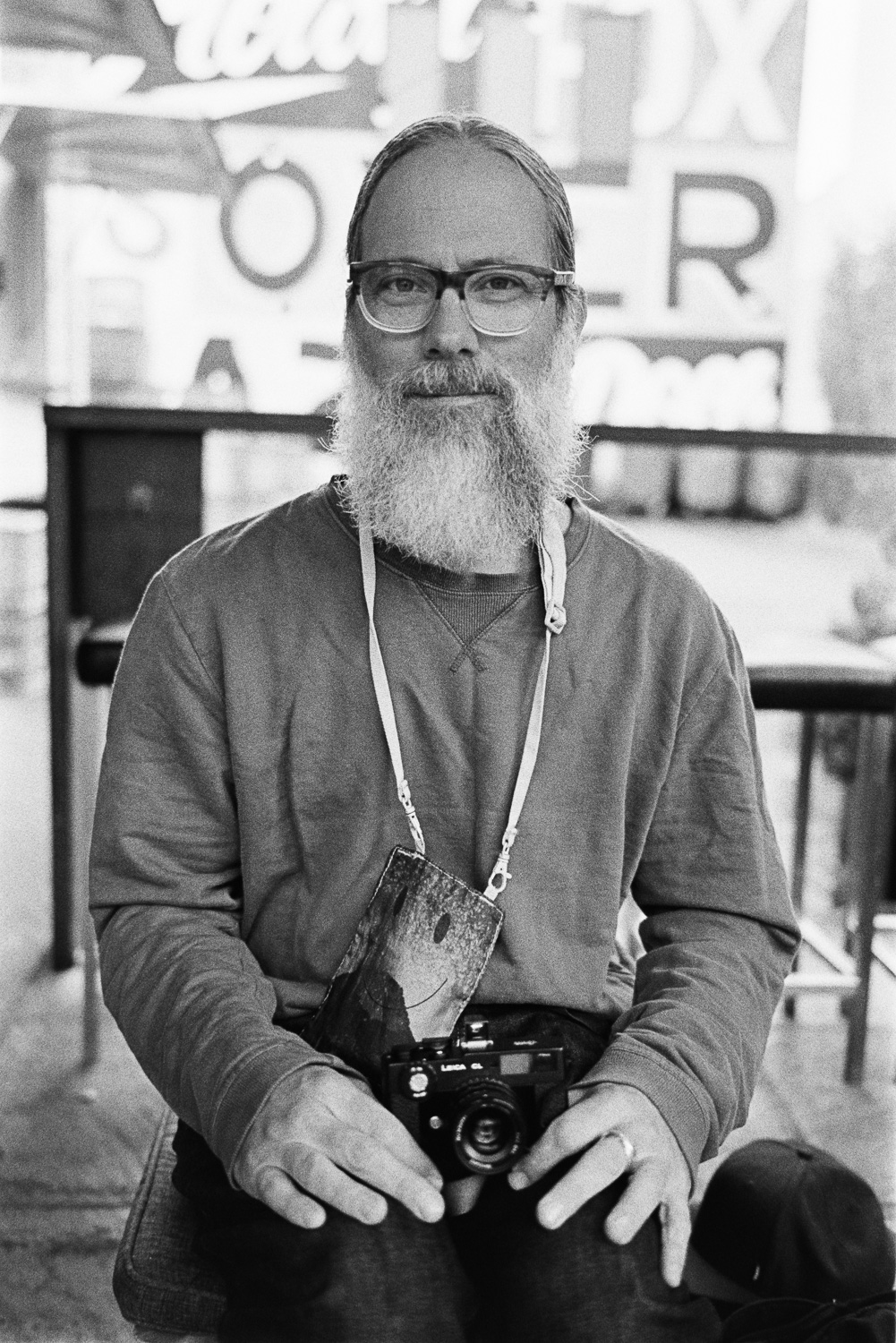 "Simon with his Leica CL and 35mm 7Artisan's ""Chinacron"" lens."