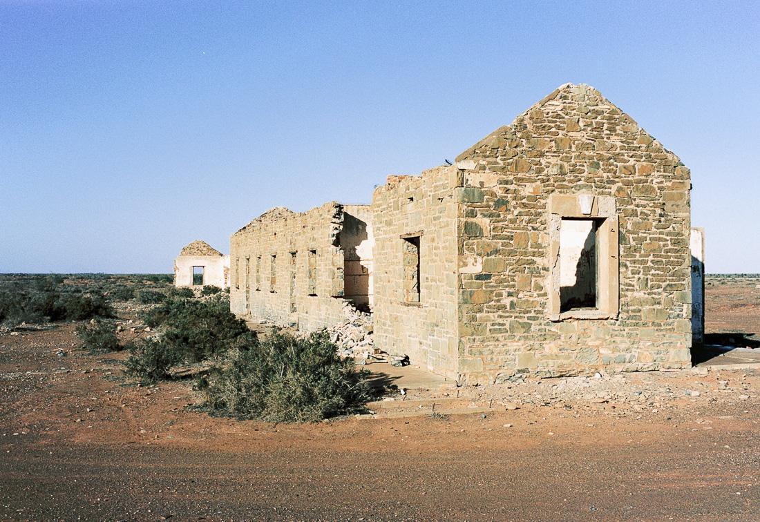 Ruins along the Stuart Highway in South Australia.