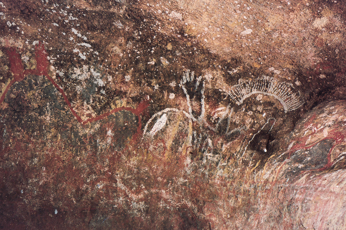 Cave paintings at Uluru.