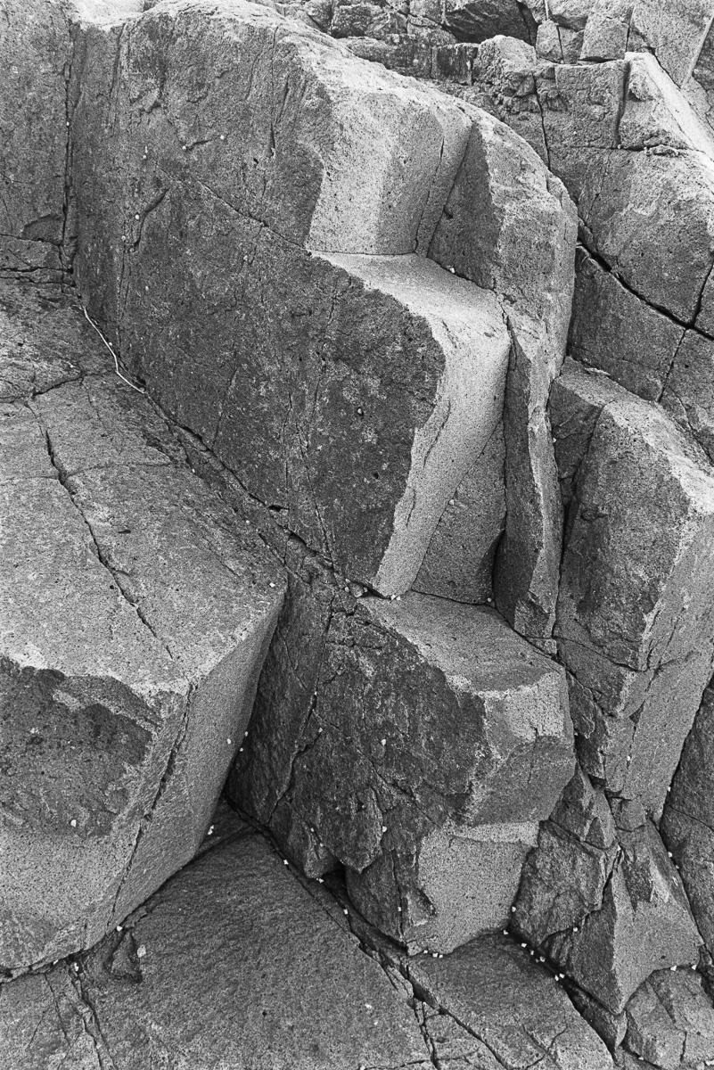 Steps on rocks.