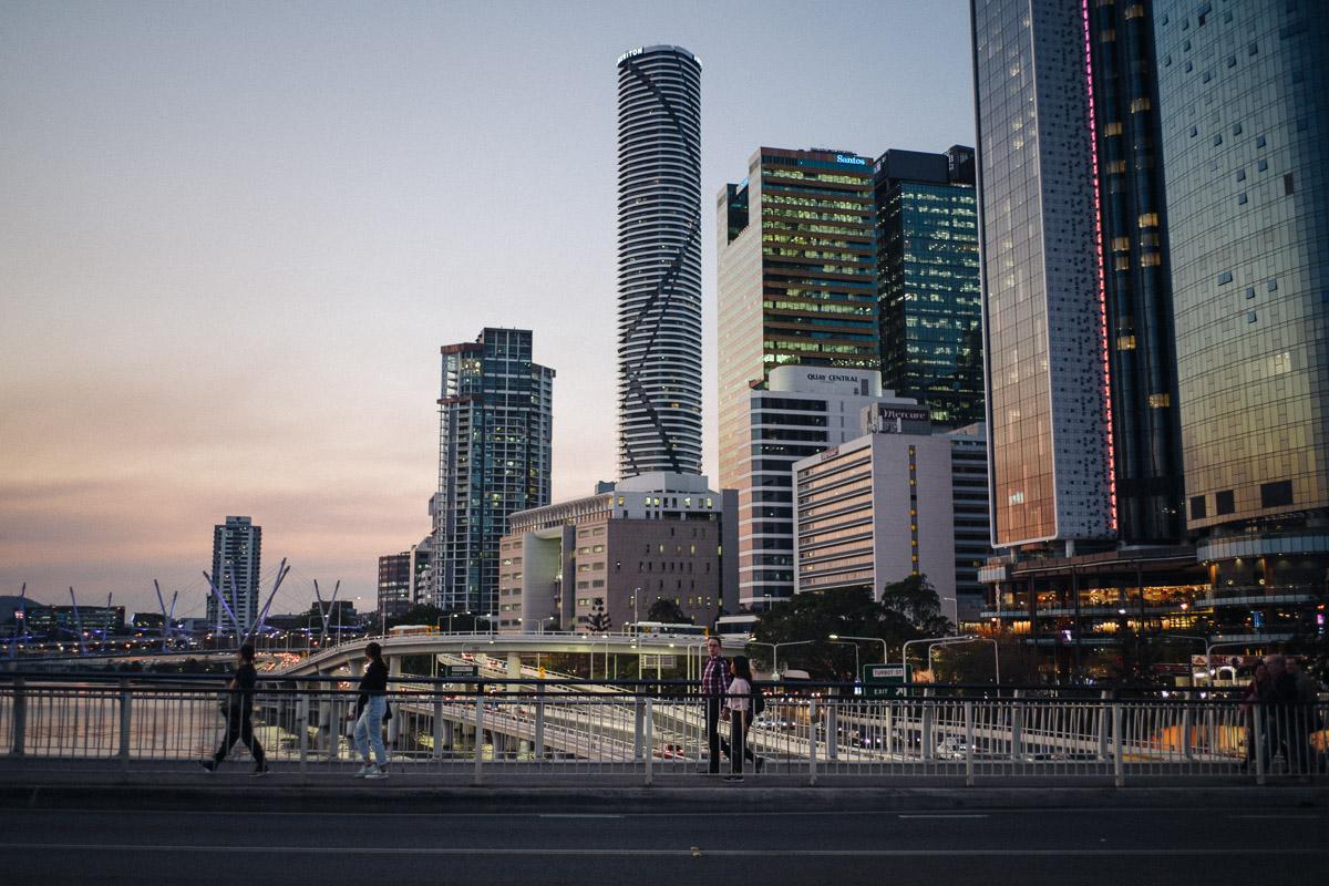 Brisbane City at dusk.